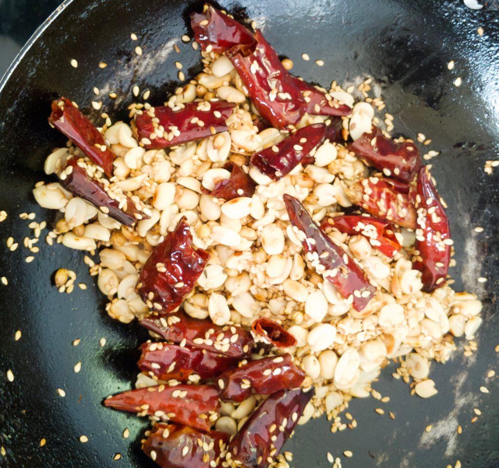 frying red chillies nune vankaya (gurthu vankaya)
